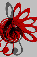 Music Treble Clef Abstract in Gray Red and Black