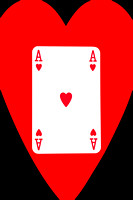 Playing Cards Ace of Hearts on Black