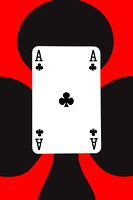 Playing Cards Ace of Clubs on Red