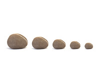 Five Pebbles against White Background