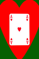 Playing Cards Ace of Hearts on Green