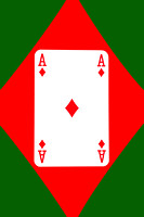 Playing Cards Ace of Diamonds on Green