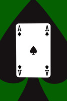Playing Cards Ace of Spades on Green