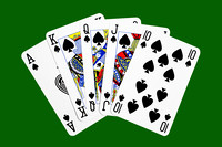 Playing Cards Royal Flush on Green
