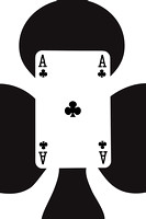 Playing Cards Ace of Clubs on White