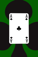 Playing Cards Ace of Clubs on Green